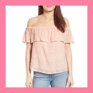 [Lucky Brand] Blush Embroidered Off the Shoulder M